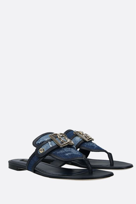 DOLCE & GABBANA: denim and smooth leather thong sandals Color Blue_2