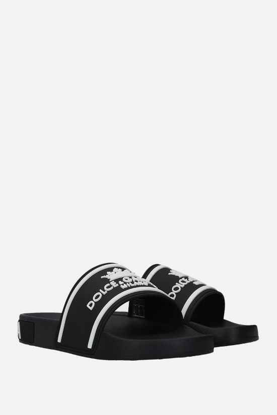 DOLCE & GABBANA: logo-detailed rubber slide sandals Color Black_2