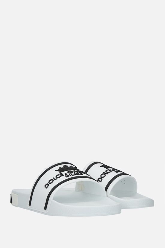 DOLCE & GABBANA: logo-detailed rubber slide sandals Color Grey_2