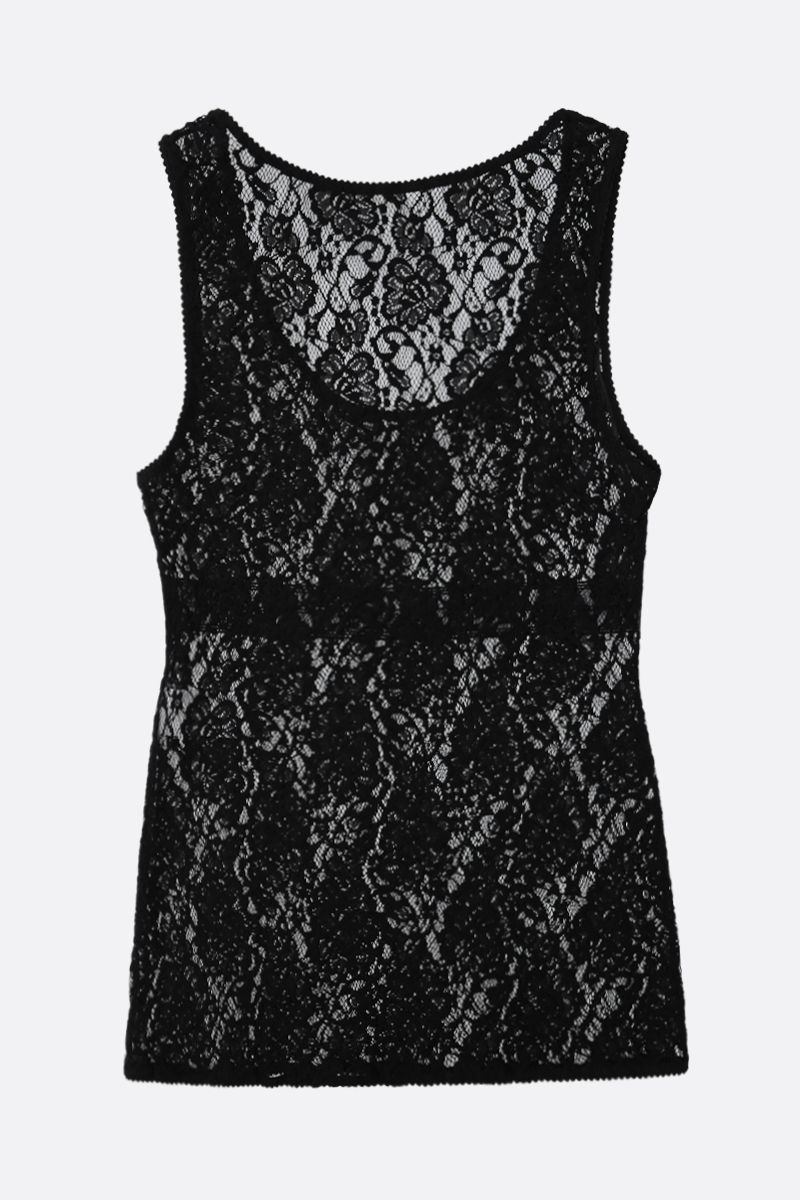 DOLCE & GABBANA: stretch lace sleeveless top Color Black_2