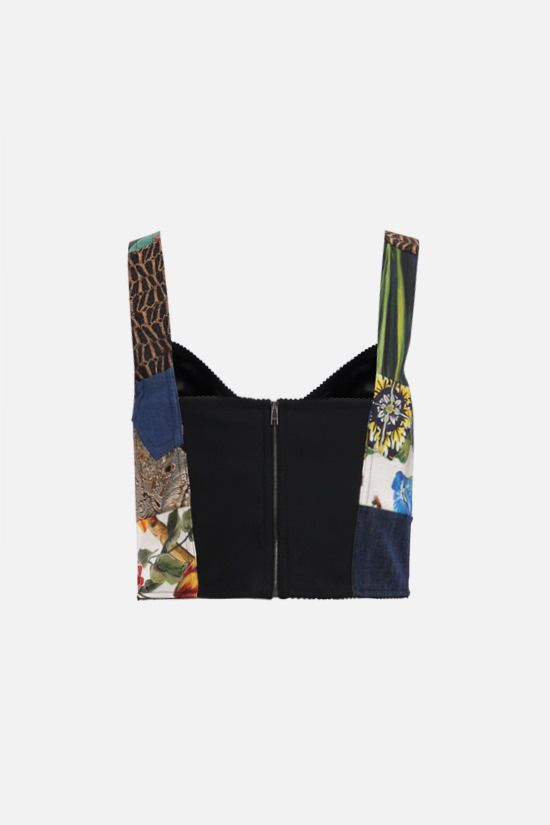DOLCE & GABBANA: bustier top in a patchwork of fabrics Color Multicolor_2