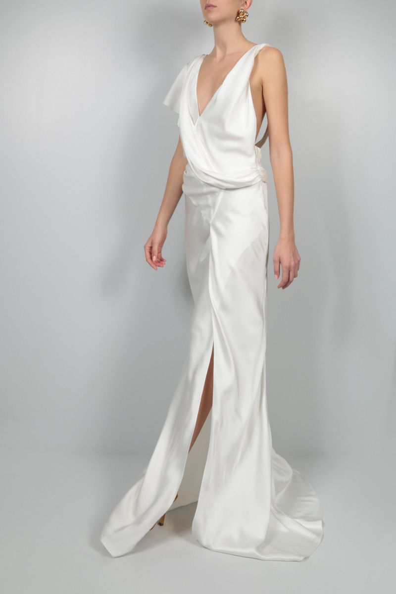 JOHN GALLIANO: satin unstructured long dress Color White_2