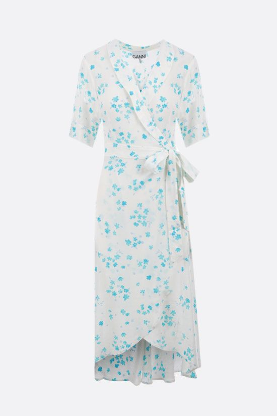 GANNI: crepe floral print wrap dress Color Multicolor_1