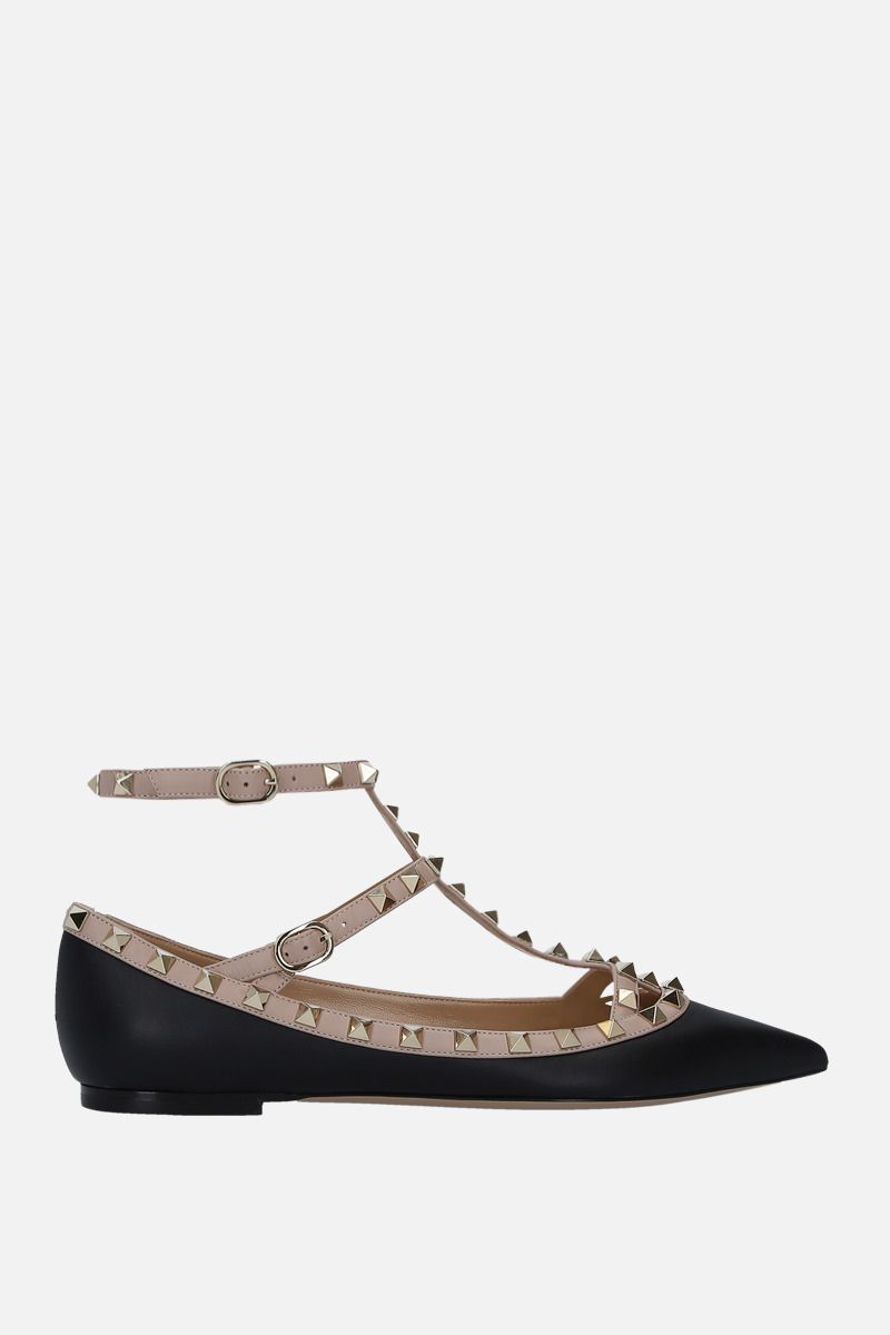 VALENTINO GARAVANI: Rockstud smooth leather ballerinas Color Black_1