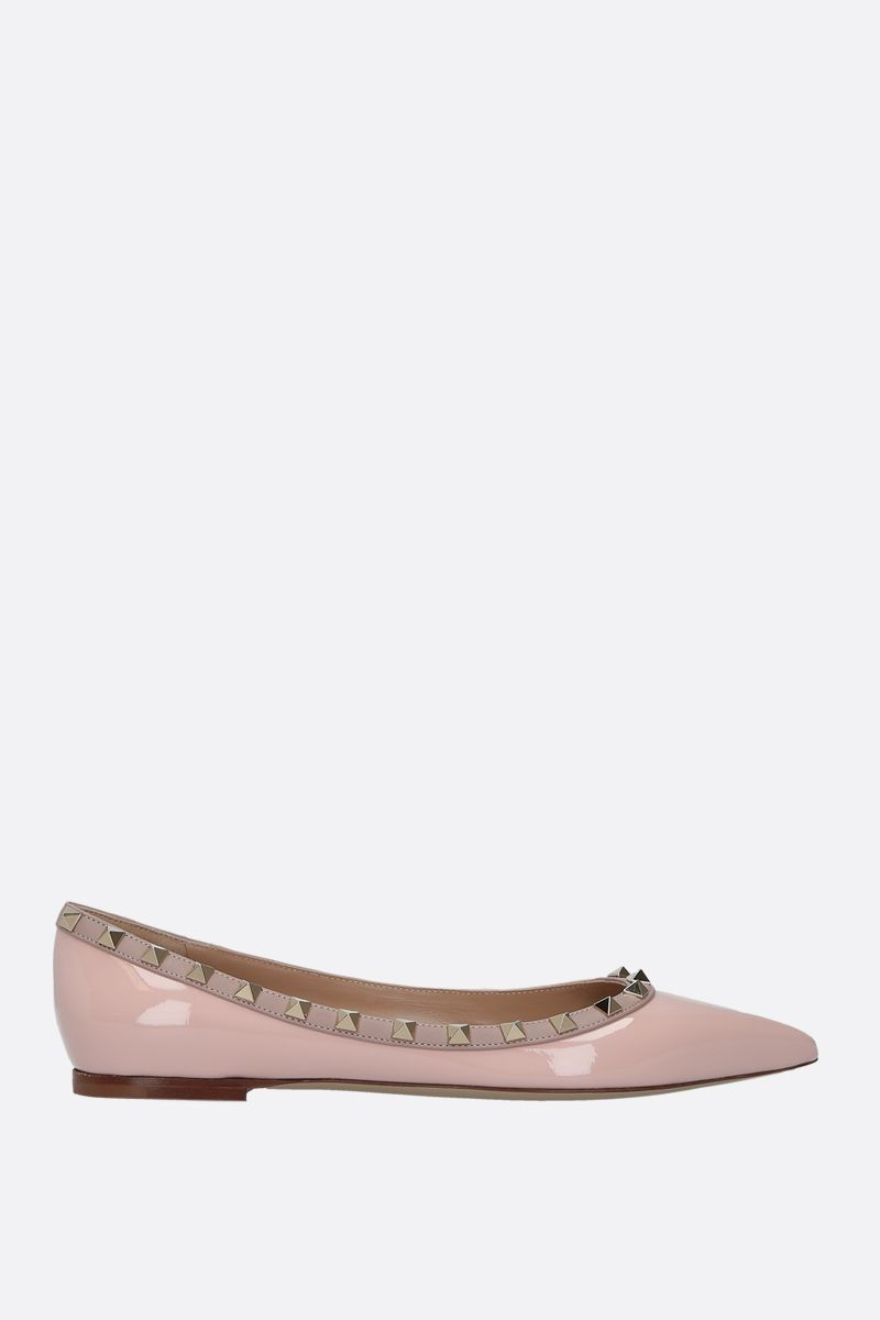 VALENTINO GARAVANI: Rockstud patent and smooth leather ballerinas Color Pink_1