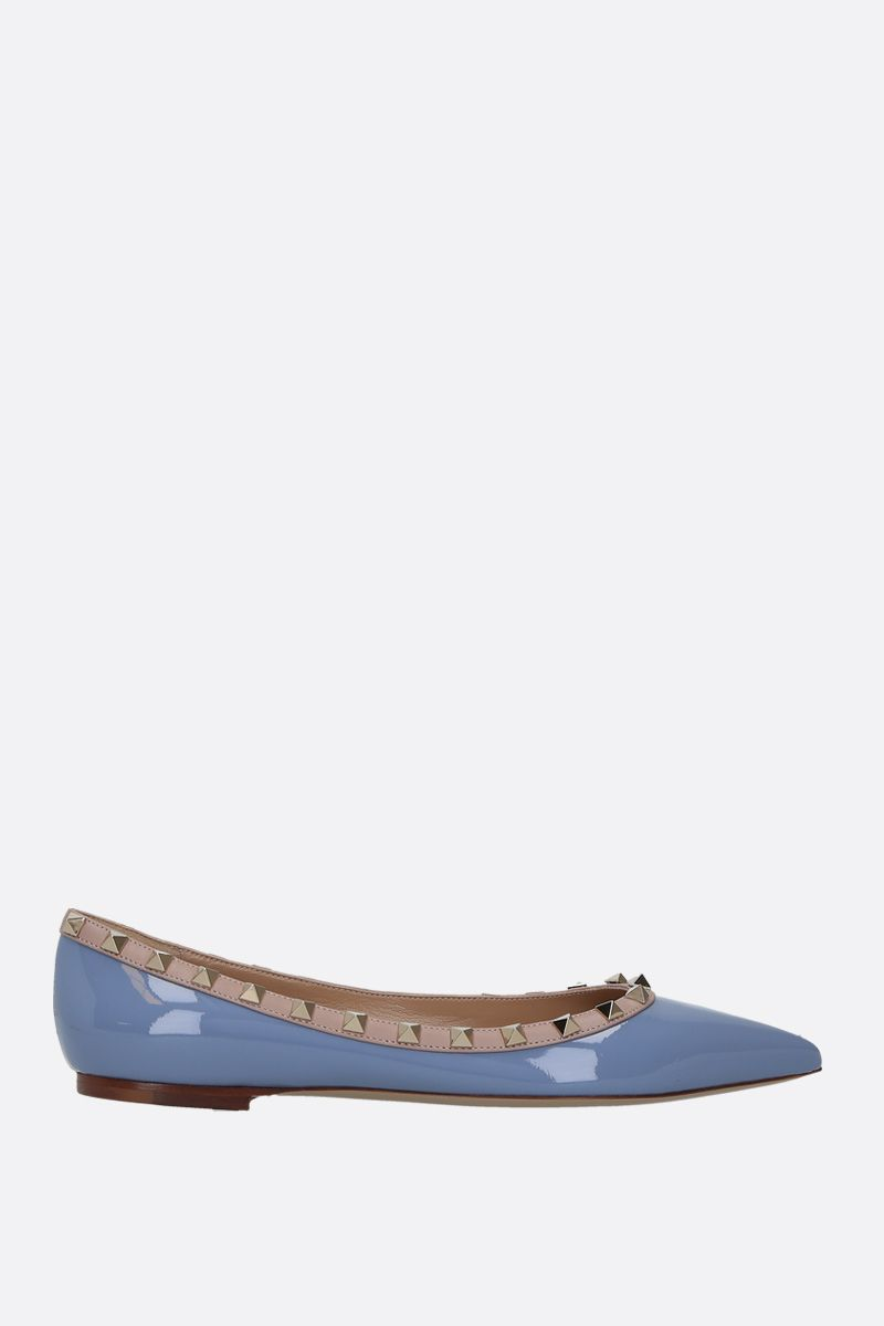 VALENTINO GARAVANI: Rockstud patent and smooth leather ballerinas Color Blue_1
