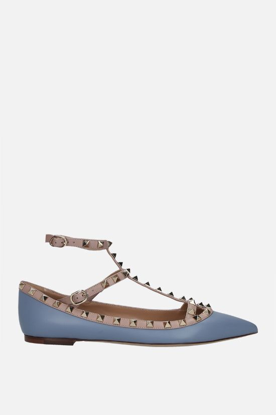 VALENTINO GARAVANI: Rockstud smooth leather ballerinas Color Blue_1