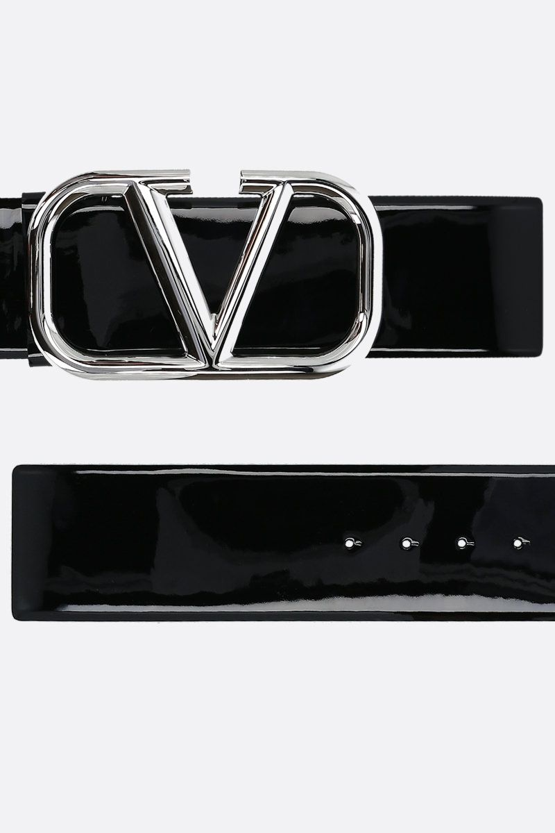 VALENTINO GARAVANI: VLOGO patent leather belt Color Black_2