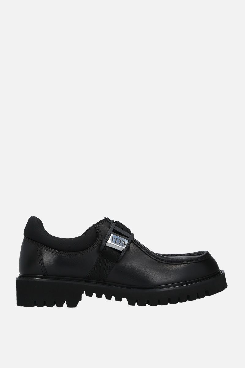 VALENTINO GARAVANI: VLTN smooth leather loafers Color Black_1