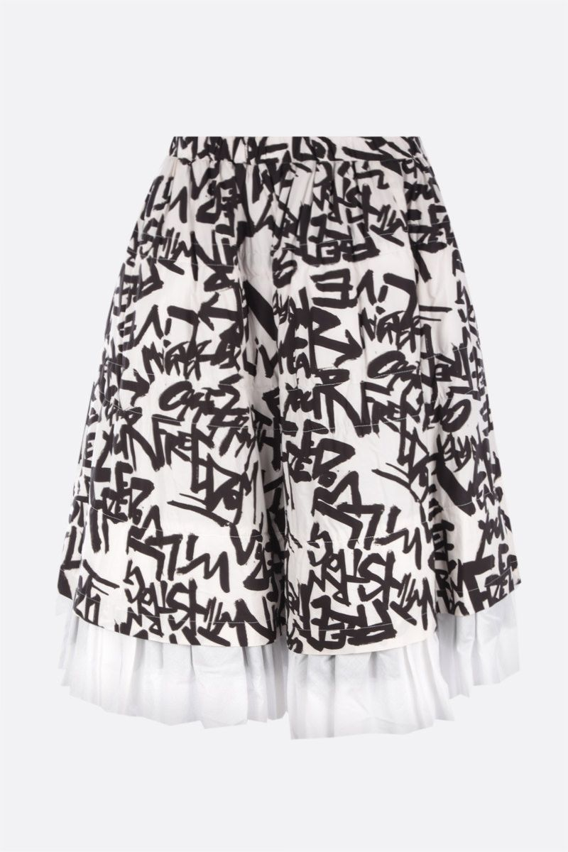 COMME des GARCONS: multilayered printed cotton skirt Color White_1