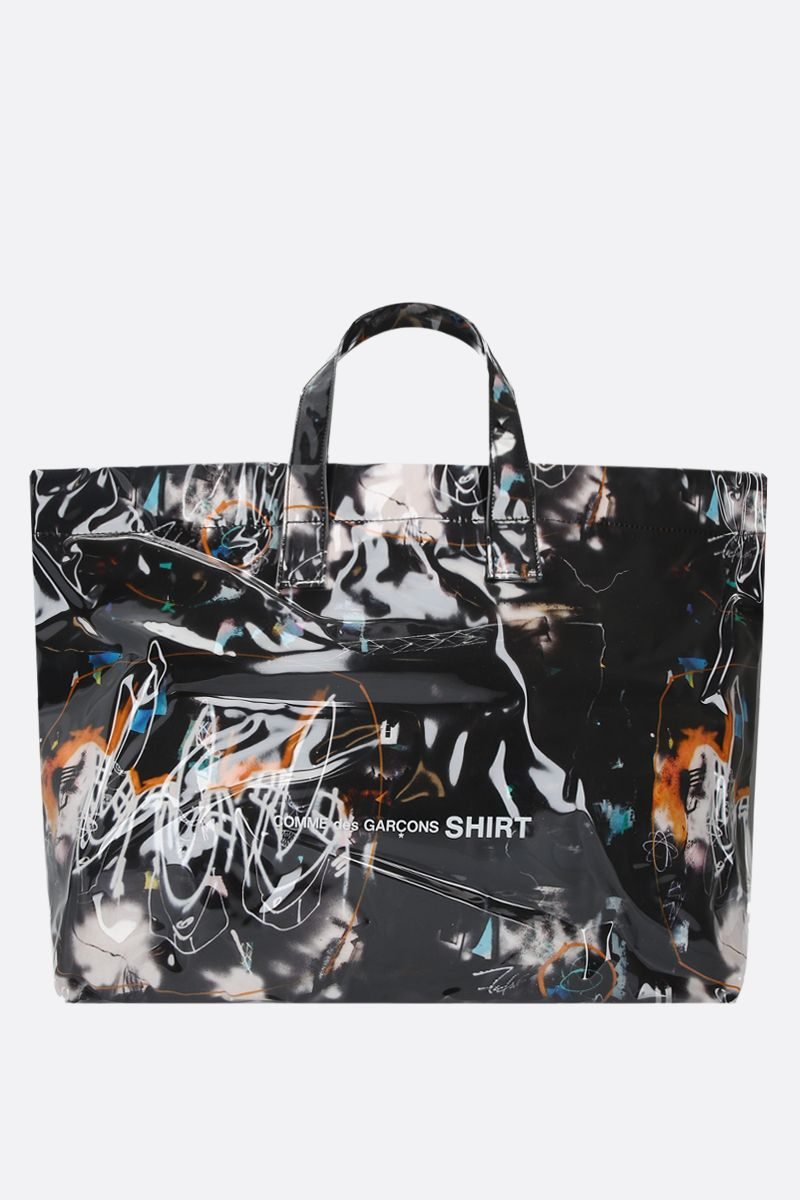 COMME des GARCONS SHIRT: Futura print vinyl tote bag Color Black_1