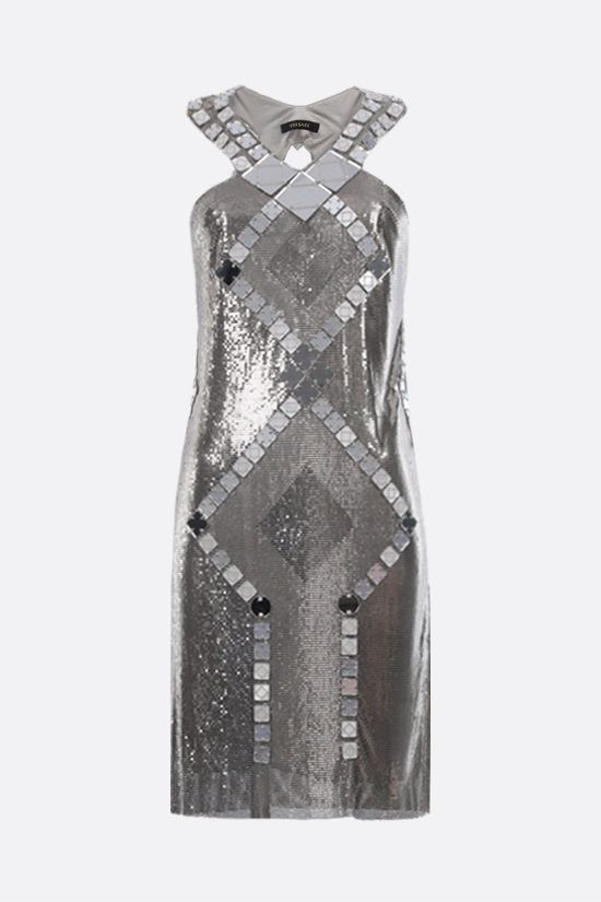 VERSACE: Oroton metal mesh short dress Color Silver_1