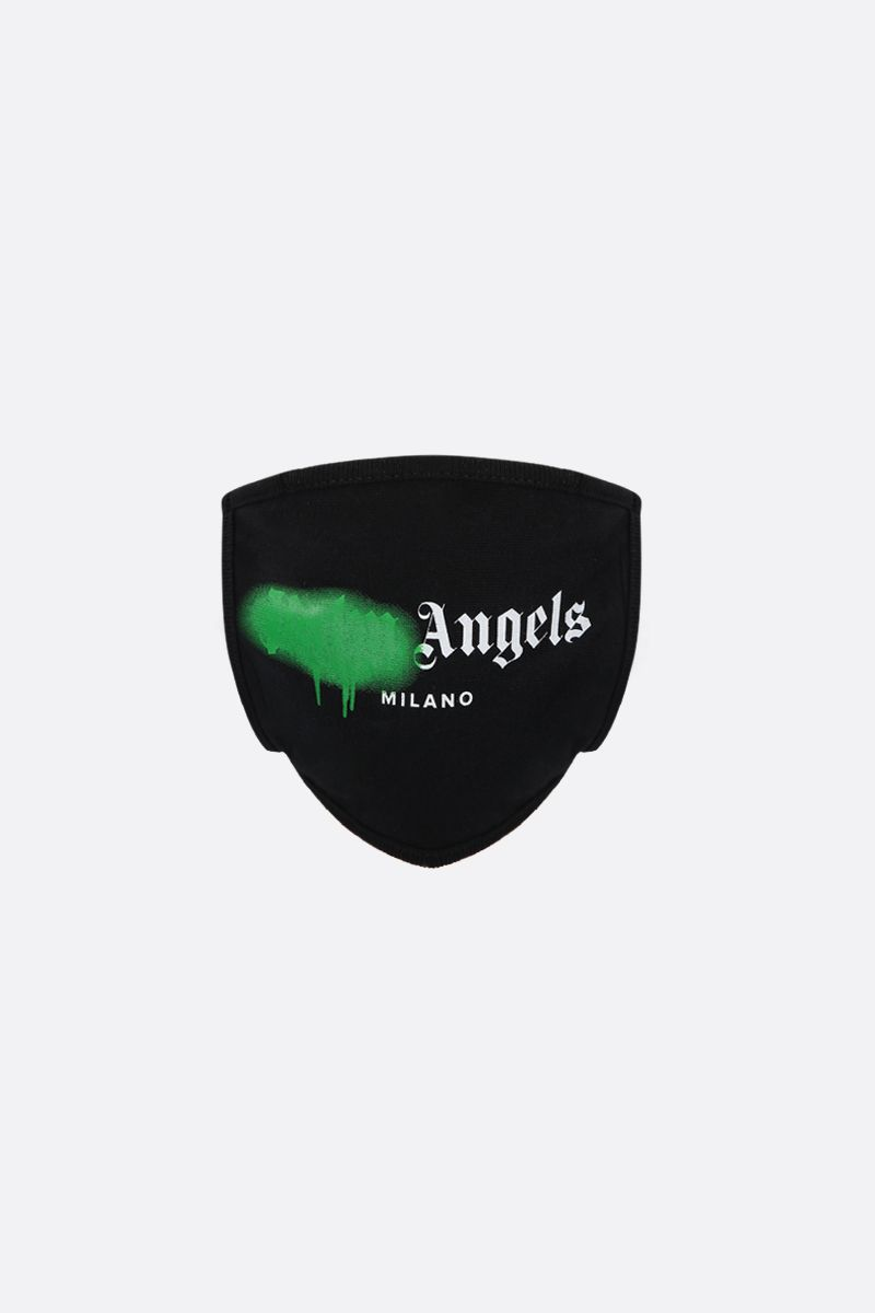 PALM ANGELS: Milano Sprayed Logo print cotton face mask Color Black_1