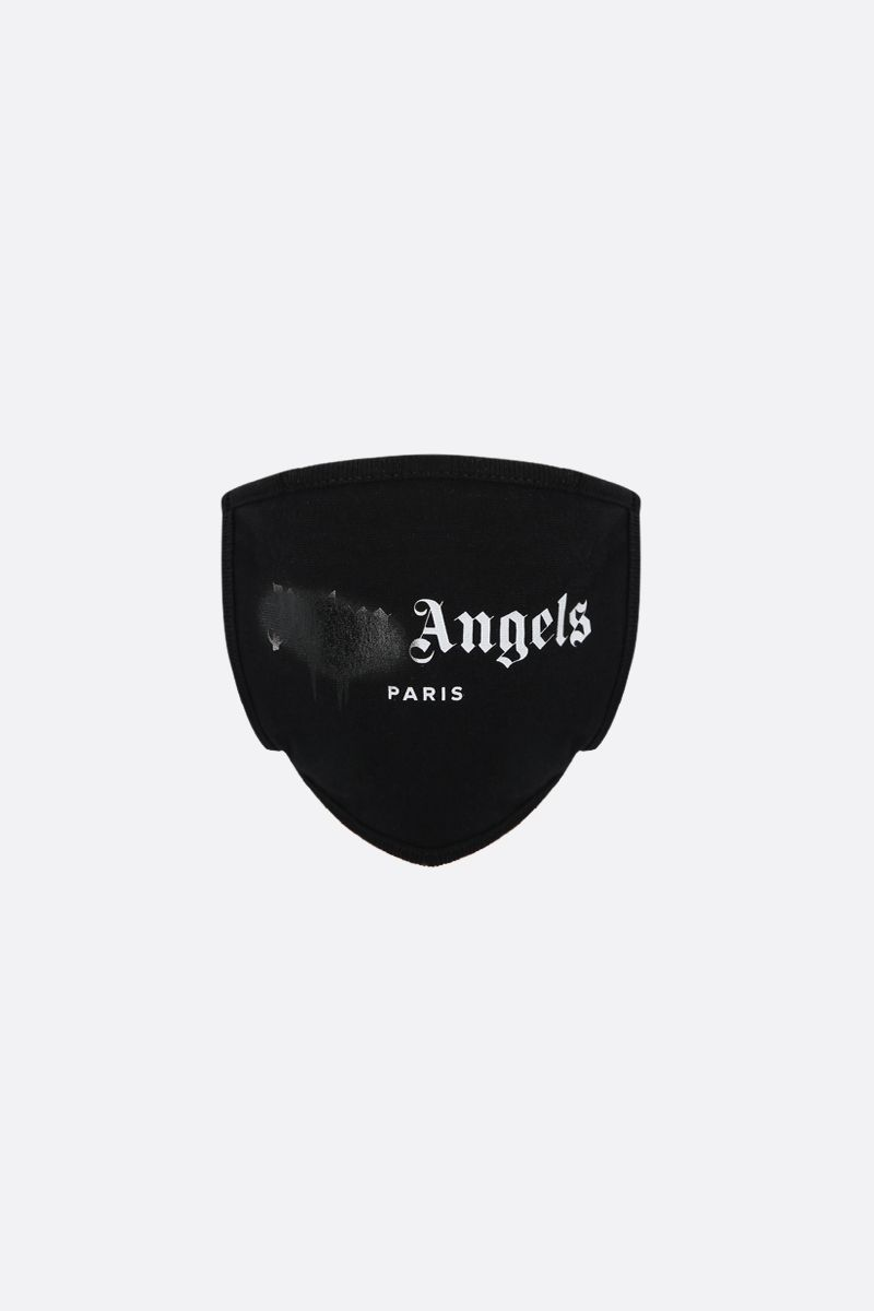 PALM ANGELS: Paris Sprayed Logo print cotton face mask Color Black_1