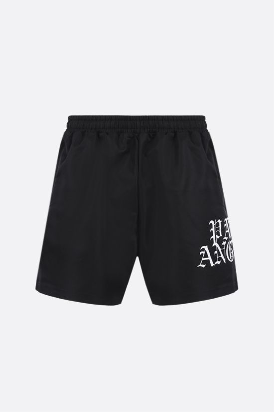 PALM ANGELS: Gothic Logo nylon shorts Color Black_1