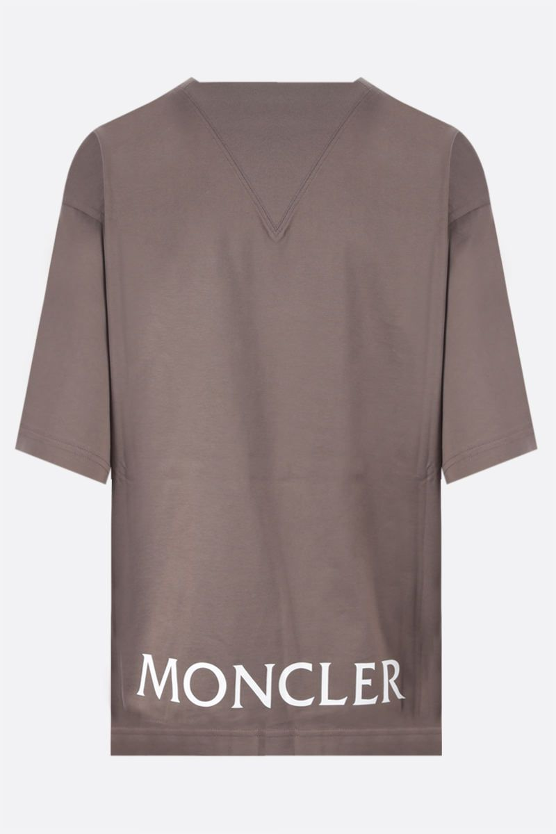 MONCLER GENIUS: t-shirt in cotone stampa logo Colore Brown_2