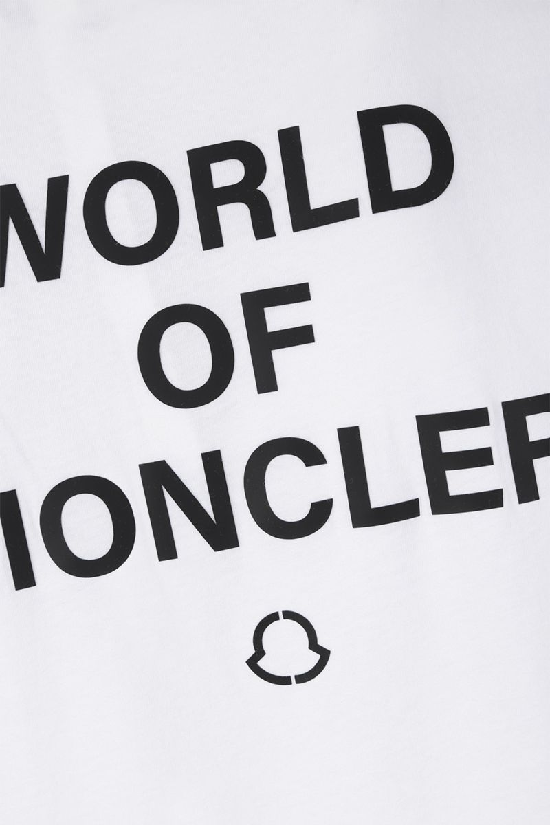 MONCLER GENIUS: t-shirt in cotone stampa WOM Colore White_3