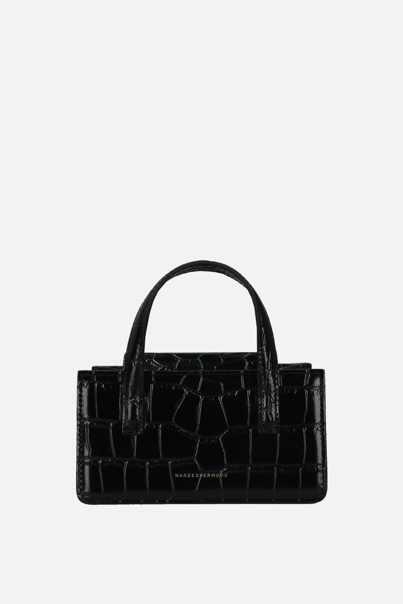 MARGESHERWOOD: borsa a mano Grandma mini in pelle stampa coccodrillo Colore Nero_1