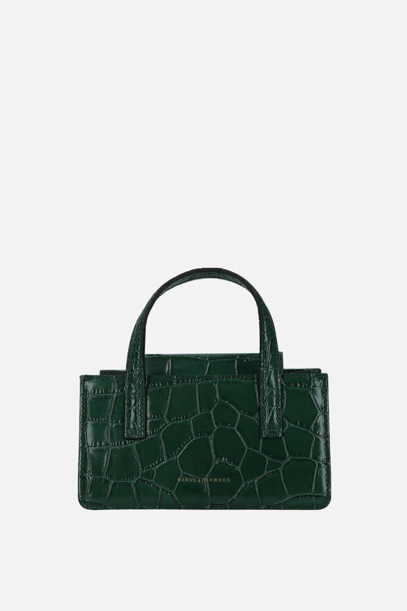 MARGESHERWOOD: borsa a mano Grandma mini in pelle stampa coccodrillo Colore Verde_1