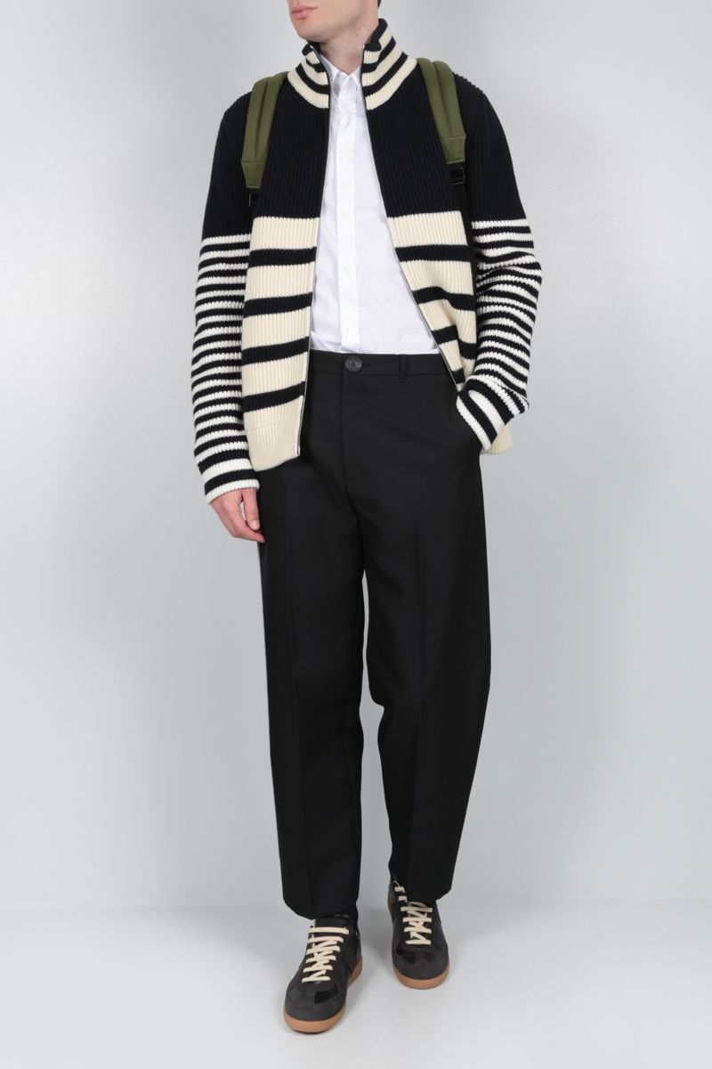 MAISON MARGIELA: striped wool cotton blend full-zip pullover_2
