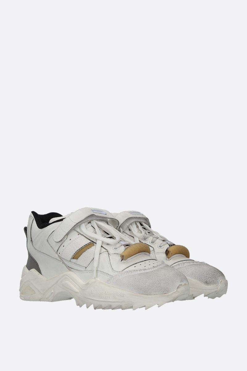 MAISON MARGIELA: Retro Fit sneakers in leather and sponge details Color White_3