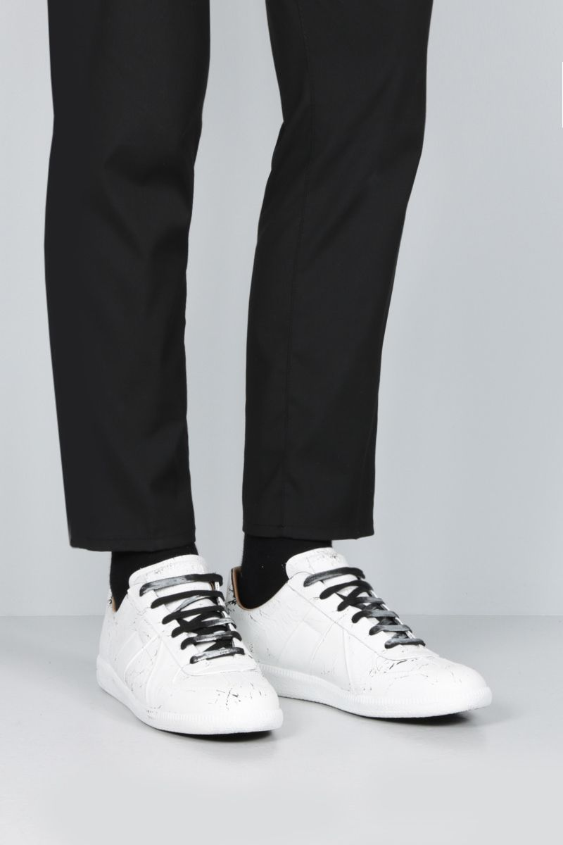 MAISON MARGIELA: Replica suede sneakers Color White_2