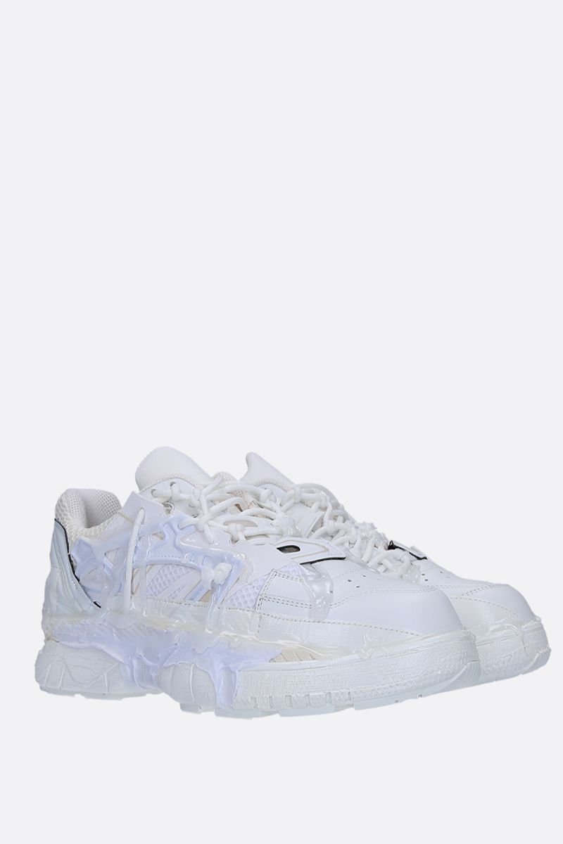 MAISON MARGIELA: Fusion sneakers in mesh and smooth leather Color White_2