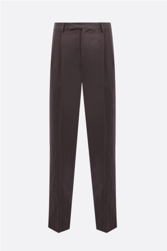 ERMENEGILDO ZEGNA: linen cotton blend regular-fit pants Color Grey_1