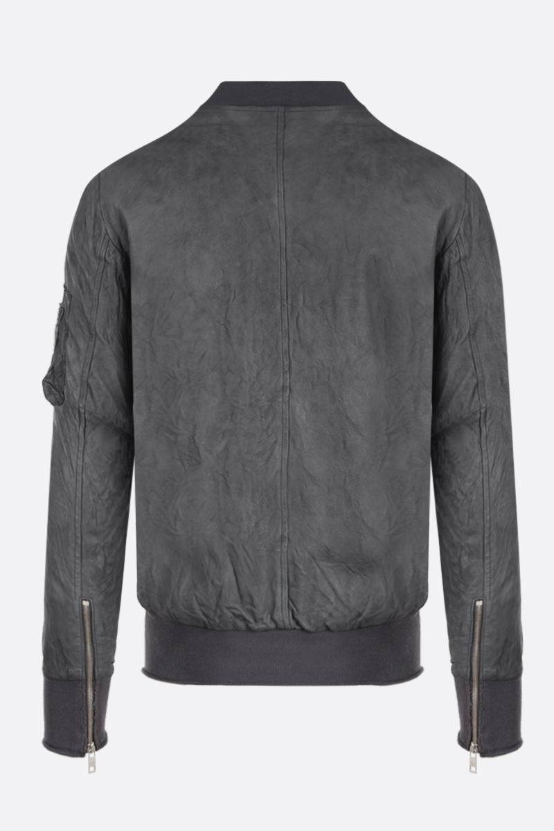GIORGIO BRATO: crinkled effect leather bomber jacket Color Grey_2