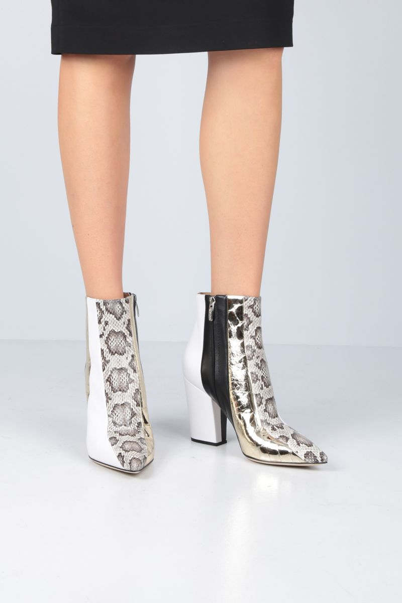 SERGIO ROSSI: Sergio ankle boots in patchwork leather Color White_2