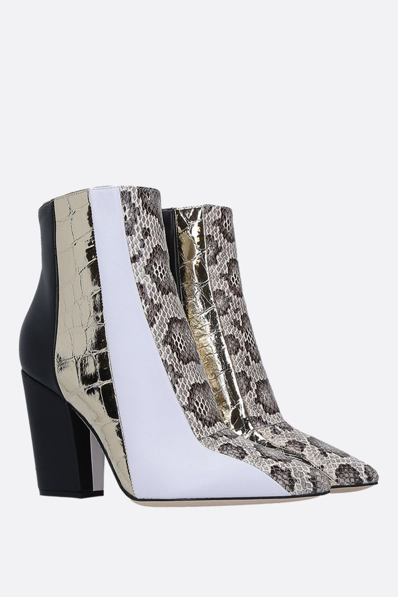 SERGIO ROSSI: Sergio ankle boots in patchwork leather Color White_3