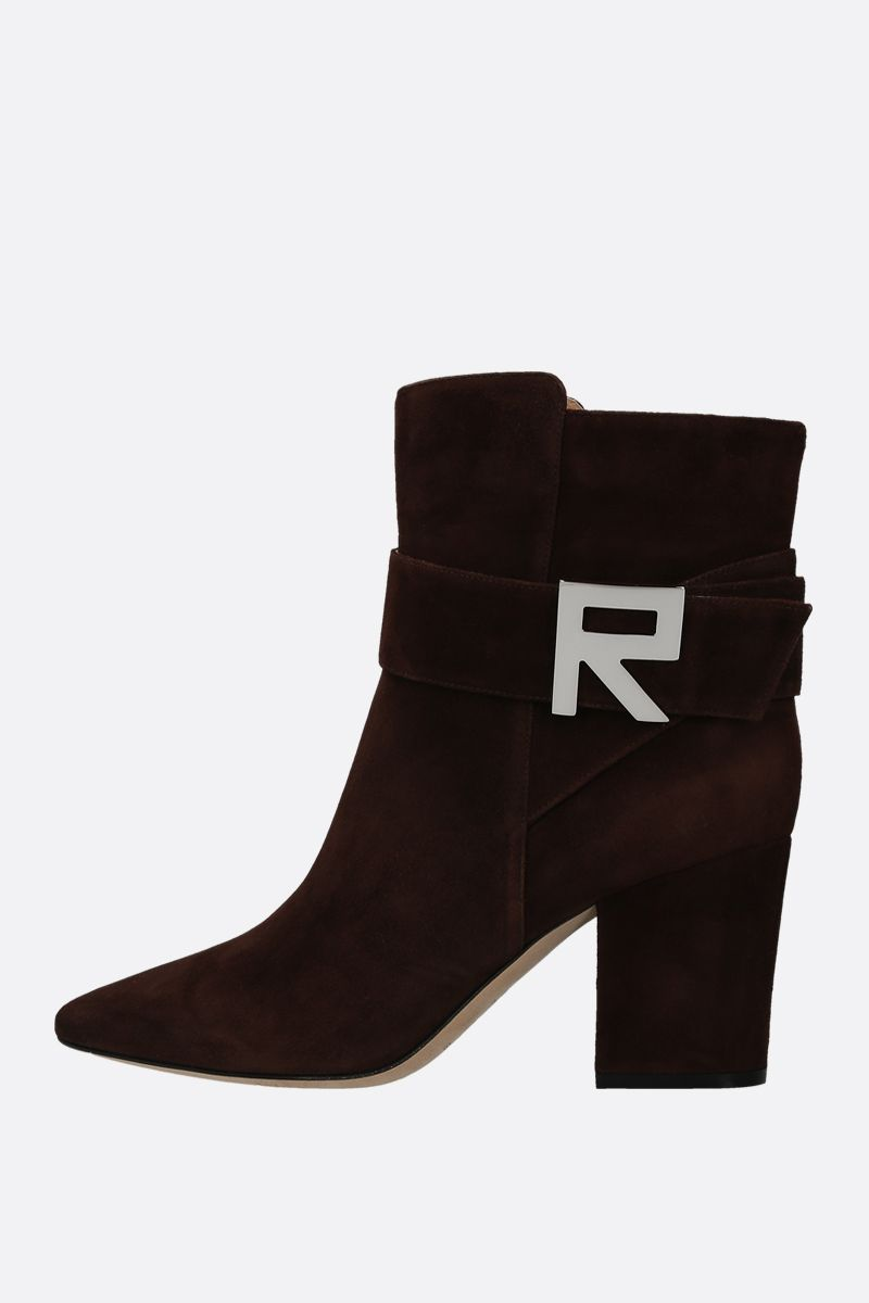 SERGIO ROSSI: Sergio Logomaniac suede ankle boots Color Brown_2