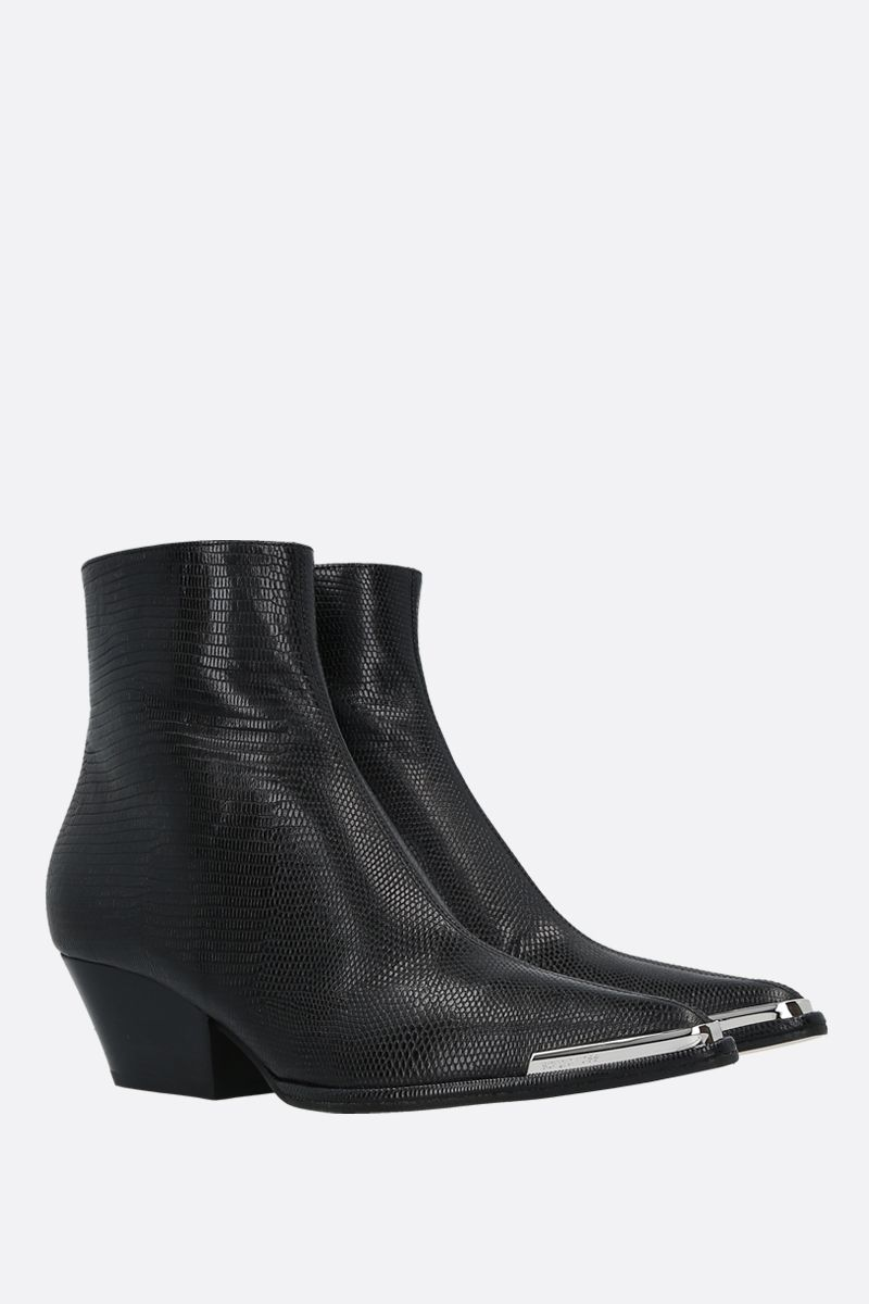 SERGIO ROSSI: Carla lizard-embossed leather western boots Color Black_2