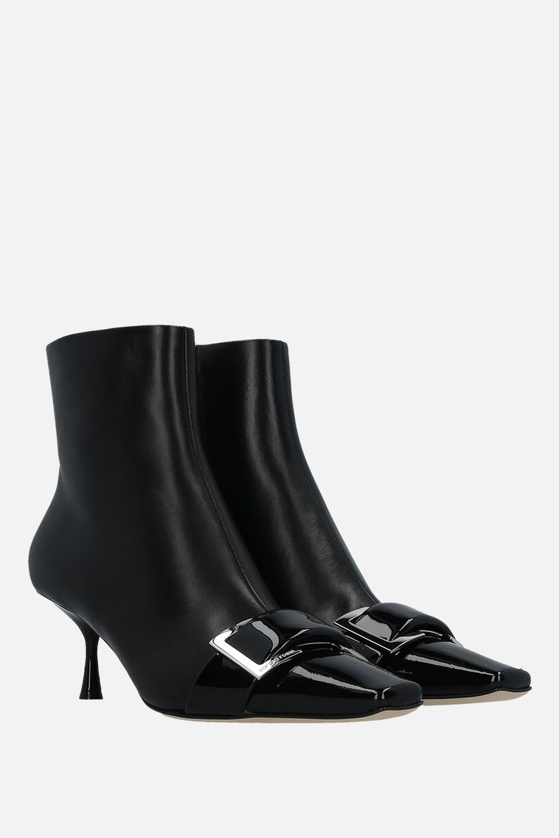 SERGIO ROSSI: sr Twenty patent leather and nappa booties Color Black_2