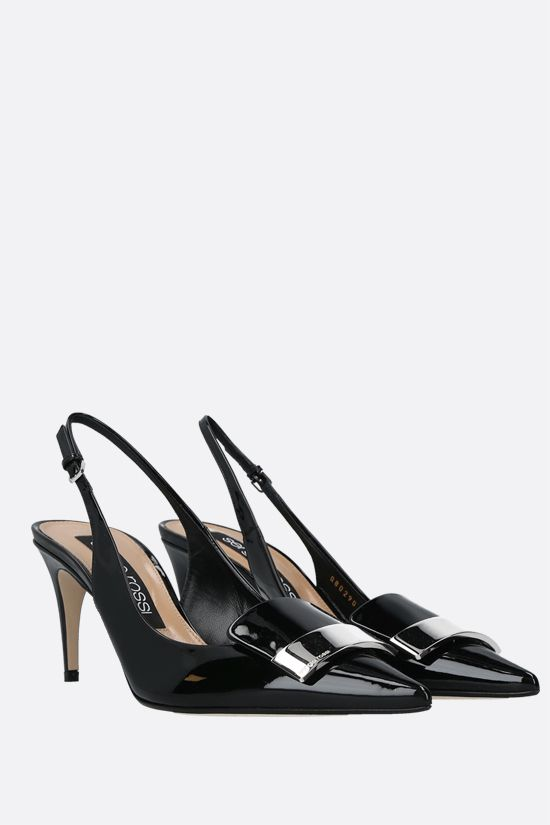 SERGIO ROSSI: sr1 patent leather slingbacks Color Black_2