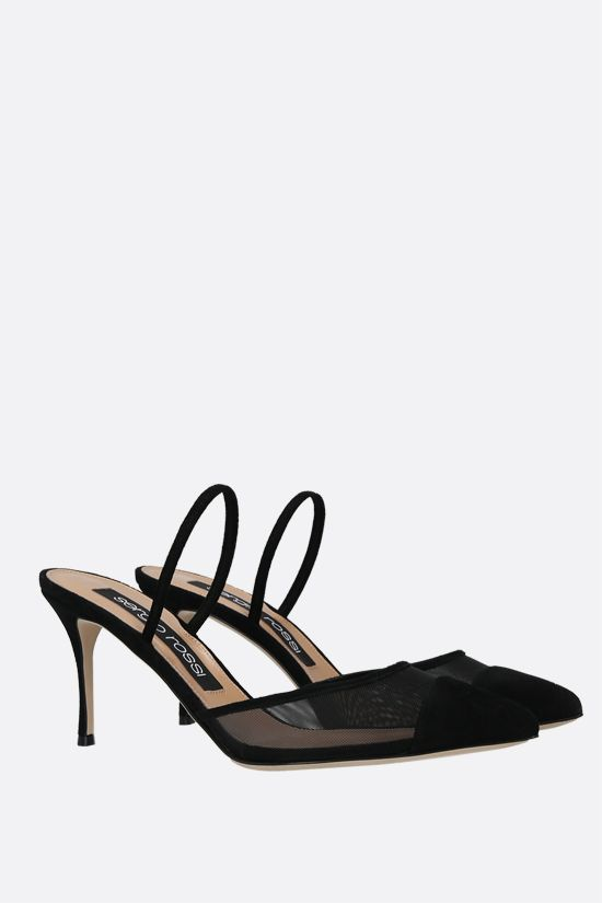 SERGIO ROSSI: Godiva mesh and suede mules Color Black_2