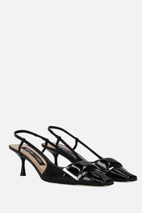 SERGIO ROSSI: sr Twenty patent leather and nappa slingbacks Color Black_2