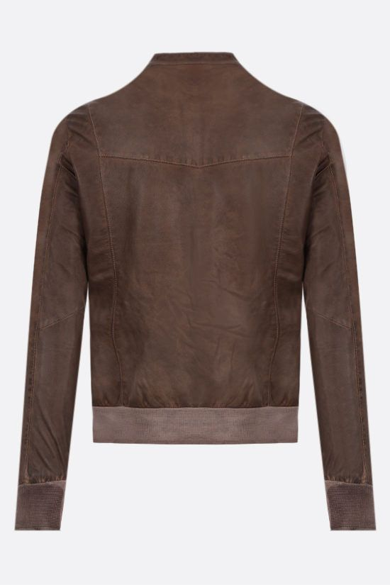 GIORGIO BRATO: crinkled-effect leather bomber jacket Color Brown_2