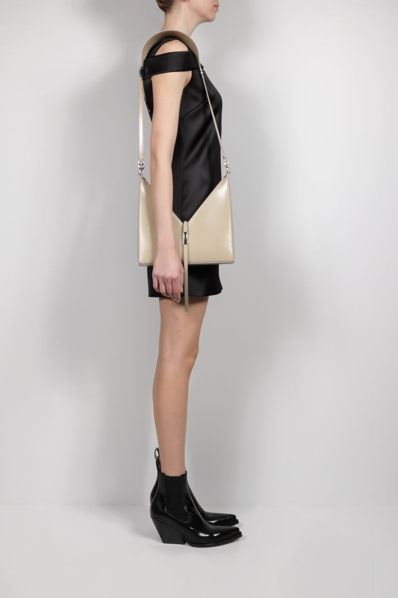 GIVENCHY: Cut Out small shiny leather shoulder bag Color Neutral_2