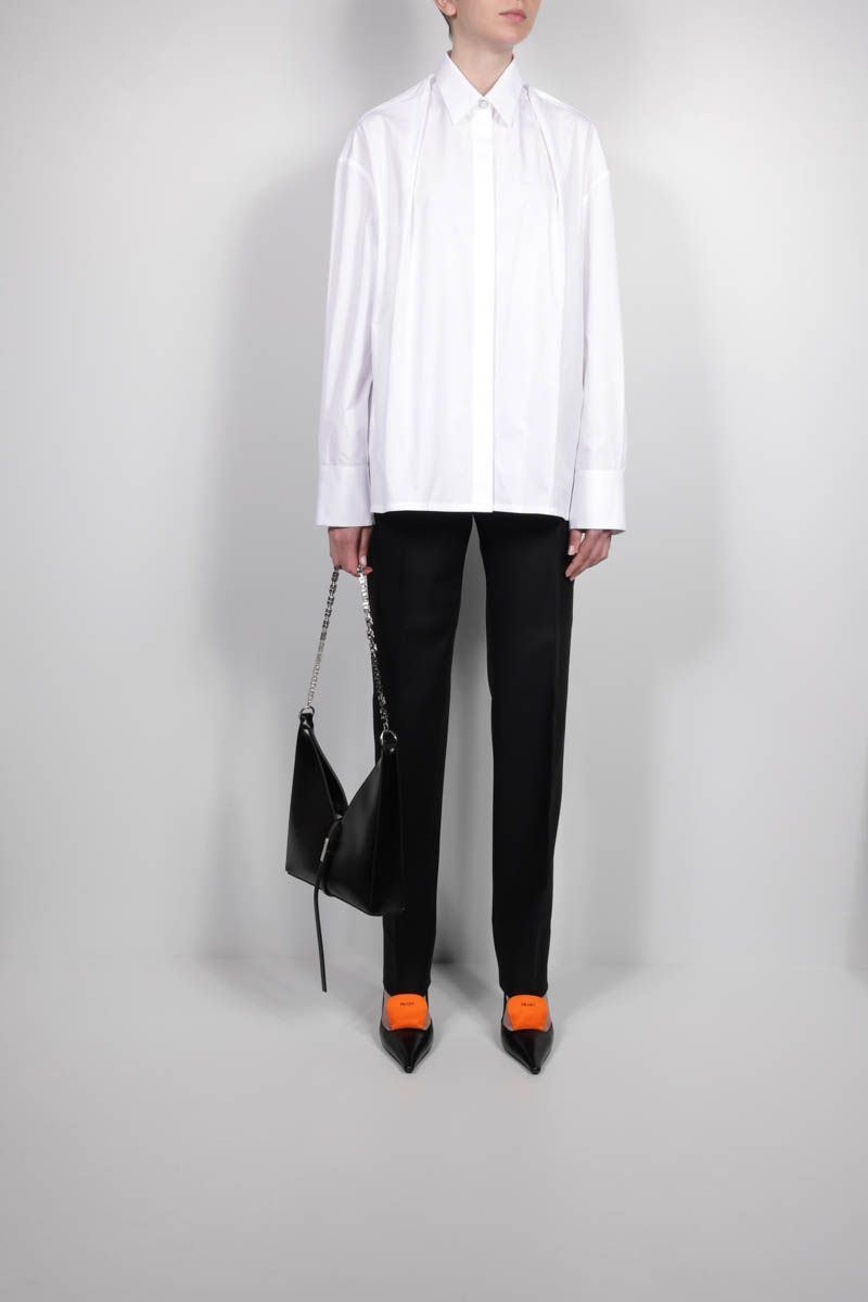 GIVENCHY: oversize cotton shirt with fold of fabric collar Color White_2