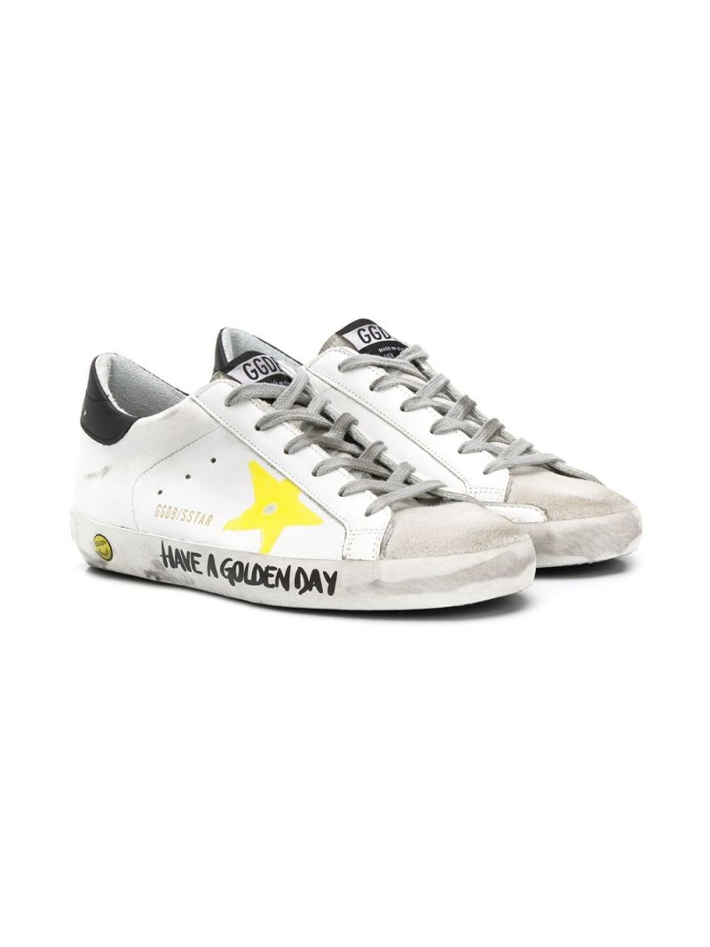 GOLDEN GOOSE DELUXE BRAND KIDS: Superstar smooth leather and suede sneakers_1