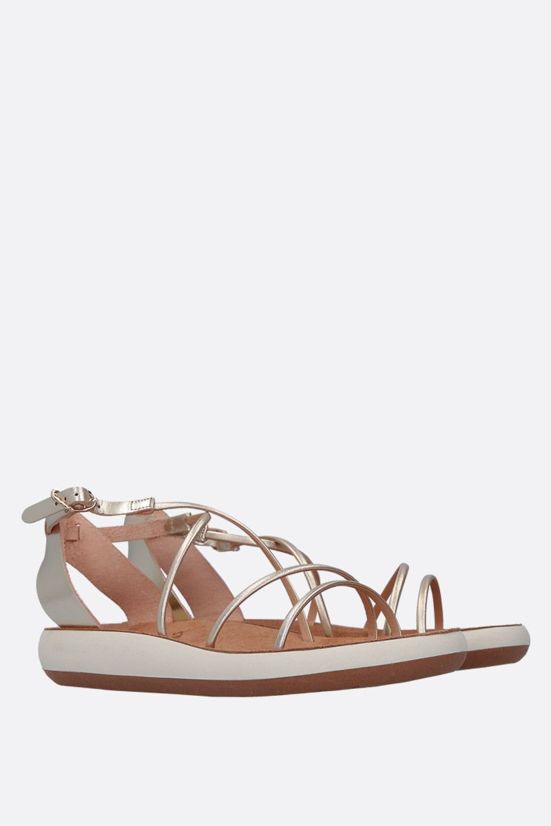 ANCIENT GREEK SANDALS: Anastasia flat sandals in laminated leather Color Silver_3