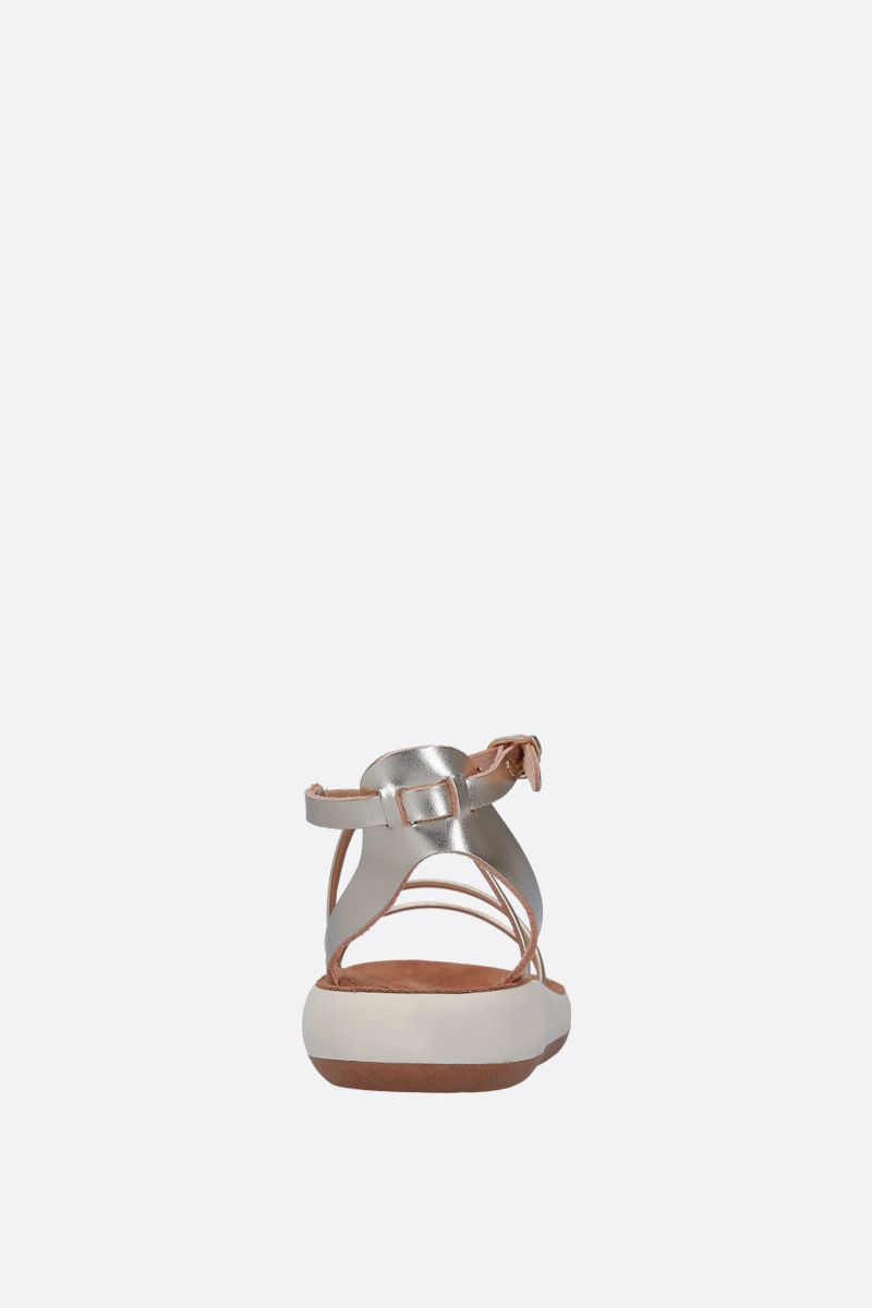 ANCIENT GREEK SANDALS: Anastasia flat sandals in laminated leather Color Silver_4
