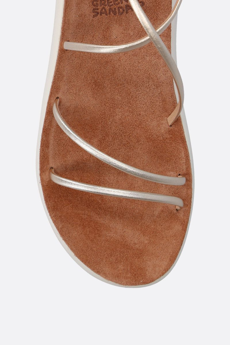 ANCIENT GREEK SANDALS: Anastasia flat sandals in laminated leather Color Silver_5