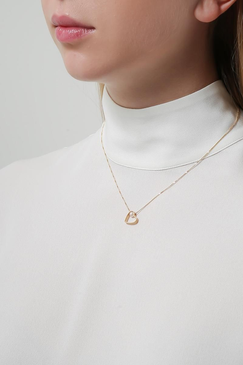LIA DI GREGORIO: Cuore Box gold necklace with pearl Color Gold_2