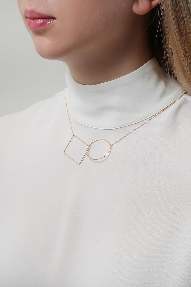 LIA DI GREGORIO: Ovale Rettangolo yellow gold necklace Color Gold_2