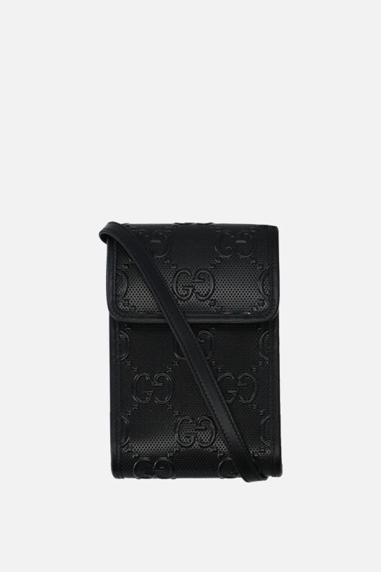 GUCCI: GG leather smartphone holder Color Black_1