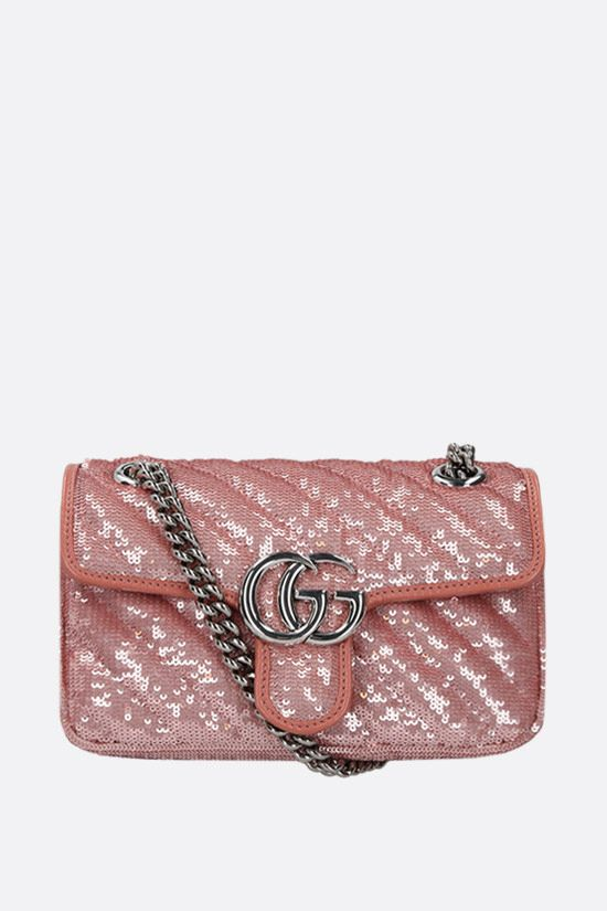 GUCCI: GG Marmont mini sequin shoulder bag Color Pink_1