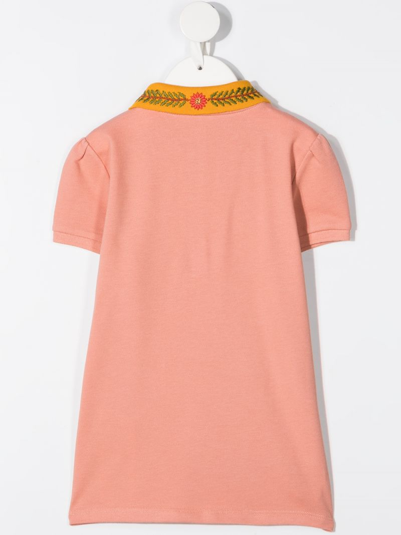 GUCCI CHILDREN: flolar embroidered stretch cotton polo shirt Color Orange_2