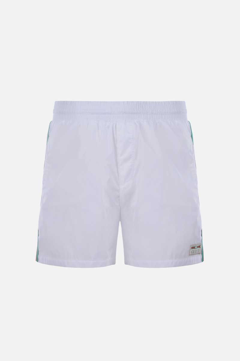 GUCCI: Web-detailed nylon swim shorts Color White_1